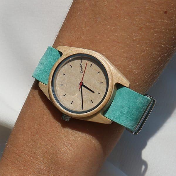 Montre en bois Toundra avec bracelet nato en velours