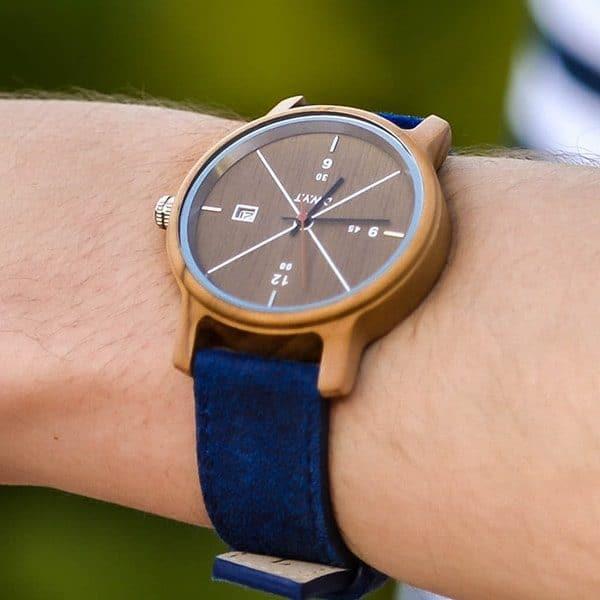 Montre homme tendance Côme avec bracelet en cuir vintage bleu