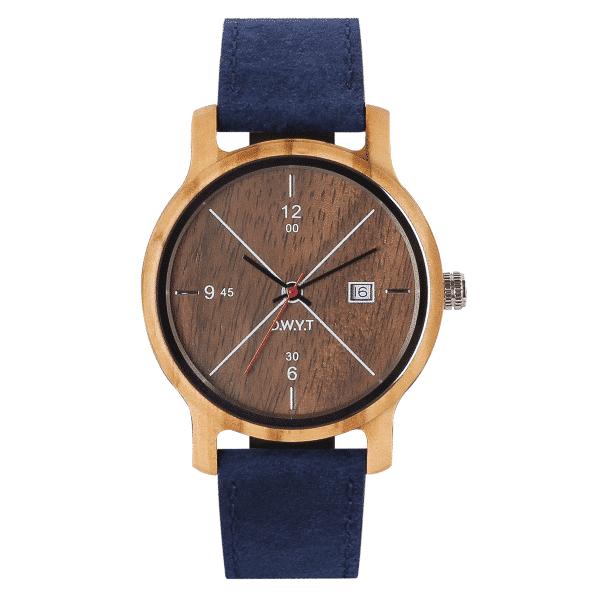 Montre Come avec bracelet en cuir classique vintage bleu saphir