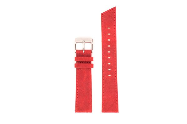 bracelets de montre pompe flash en cuir véritable rouge vermillon