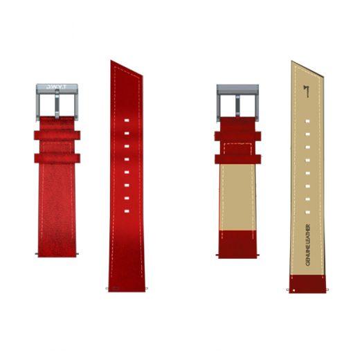 Bracelet pompe flash cuir rouge vermillon en cuir