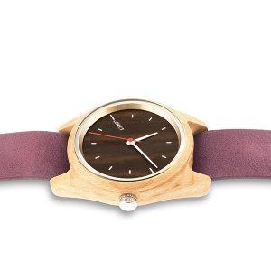 montre en bois Taiga nato violette