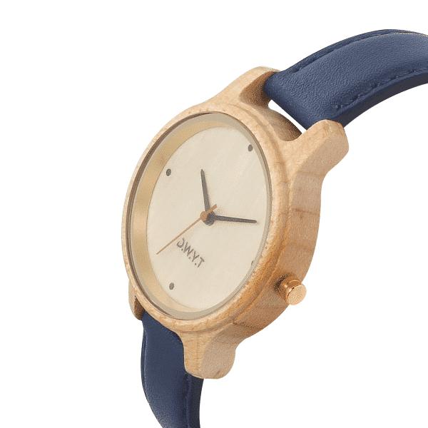 Montre tendance femme Aquila avec bracelet en cuir lisse bleu marine