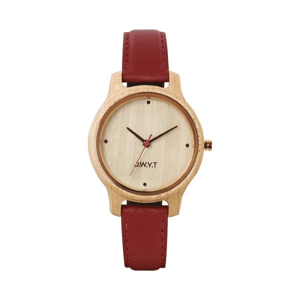 Montre femme tendance Aquila avec bracelet cuir lisse rouge rubis