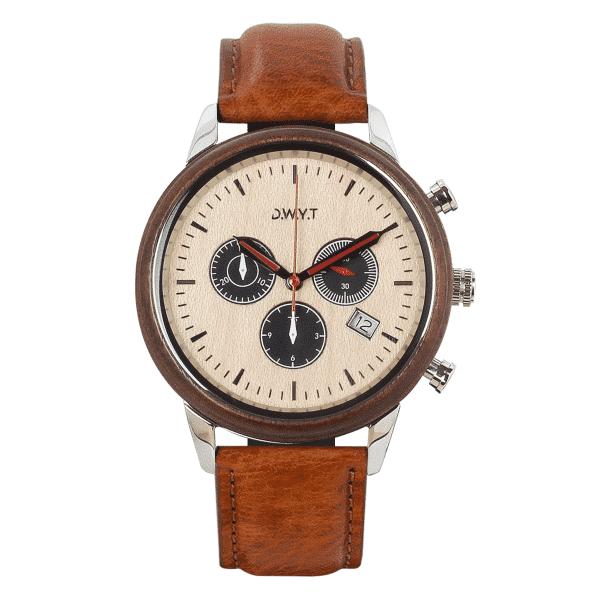 Montre chronographe Marco Polo avec bracelet cuir lisse marron tabac