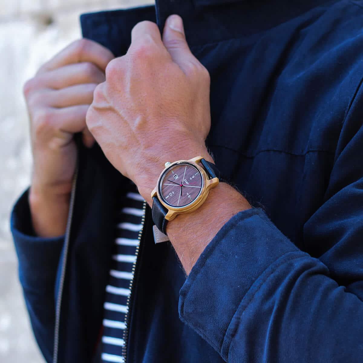 Montre homme tandance Côme avec bracelet en cuir lisse