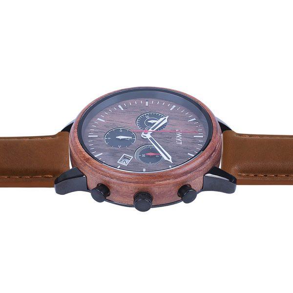 Montre chronographe Vasco de Gama cuir lisse marron sénois