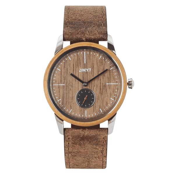 Montre minimaliste Etna avec bracelet cuir vintage marron sépia