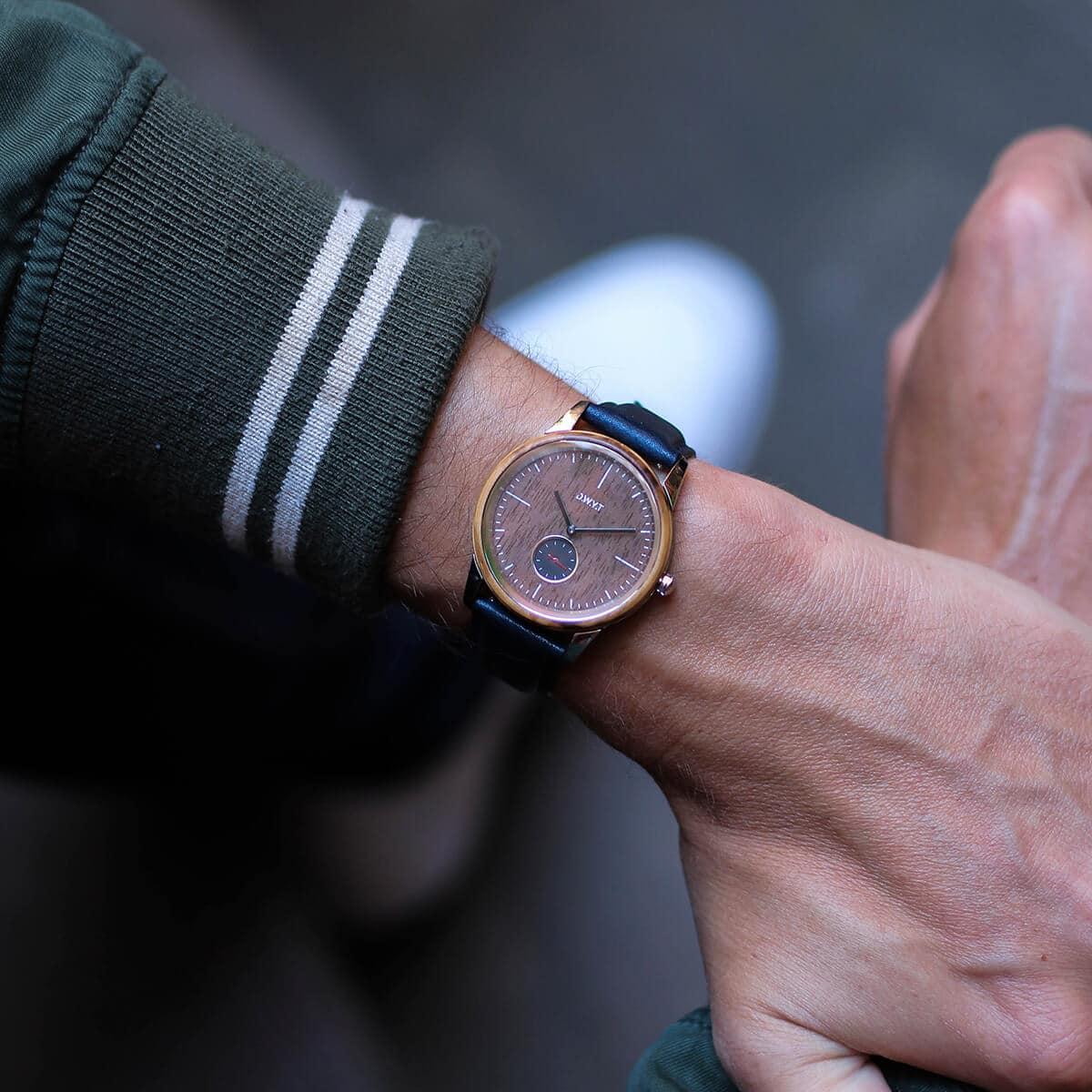Montre minimaliste homme Talang avec bracelet en cuir lisse