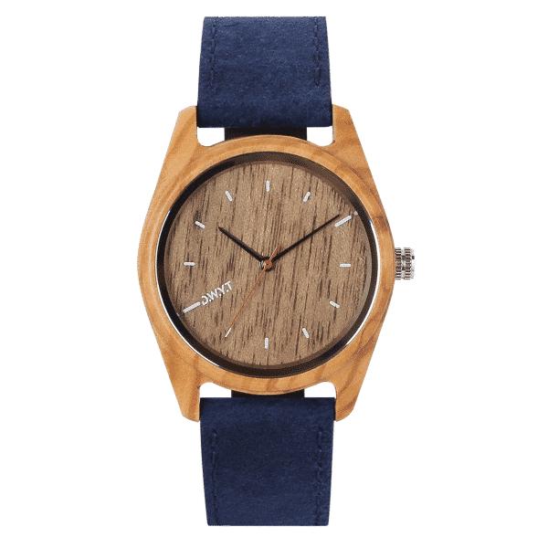 Montre bois Rata avec bracelet cuir vintage bleu saphir