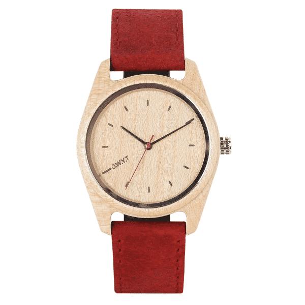 Montre bois Rata avec bracelet cuir vintage rouge vermillon
