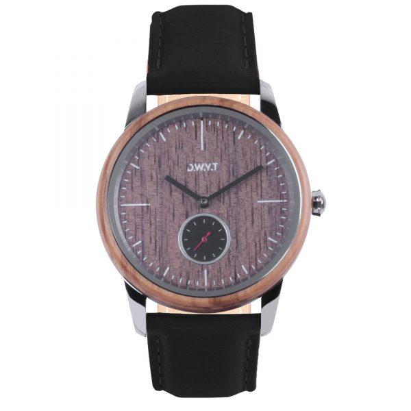 montre bois volcano Etna bracelet cuir lisse noir réglisse