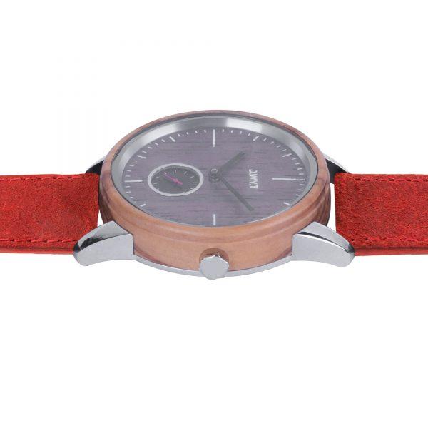 montre bois Etna bracelet vintage rouge vermillon