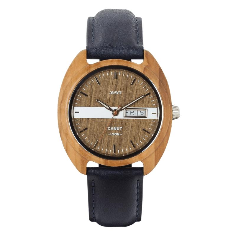 Montre vintage homme Canut avec bracelet en cuir lisse bleu minuit