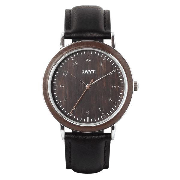 Montre en bois Kharga avec bracelet en cuir lisse noir réglisse