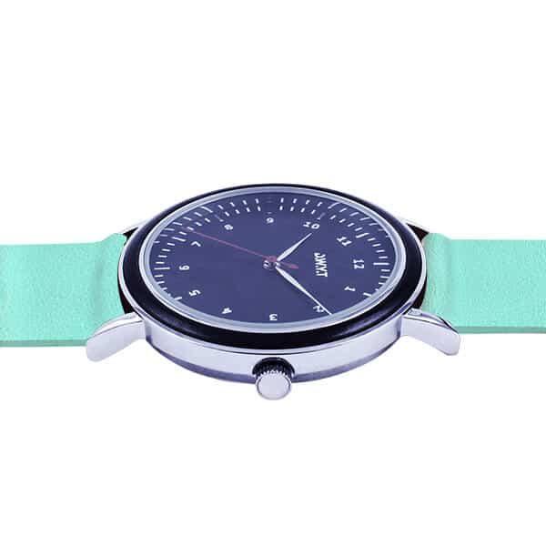 Montre bois Kharga avec bracelet cuir grainé bleu bermudes