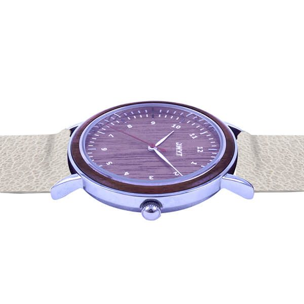Montre bois Sitra bracelet cuir grainé gris galet