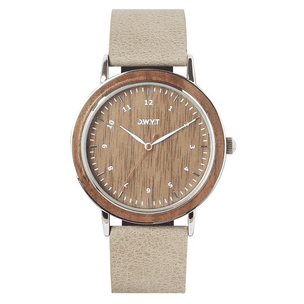 Montre en bois Sitra avec bracelet en cuir grainé couleur galet