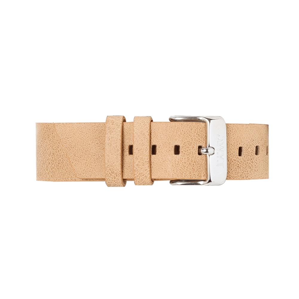 bracelet de montre en cuir grainé couleur noisette
