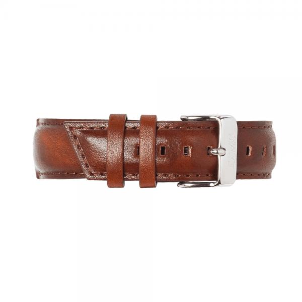 Bracelet homme en cuir lisse marron sénois