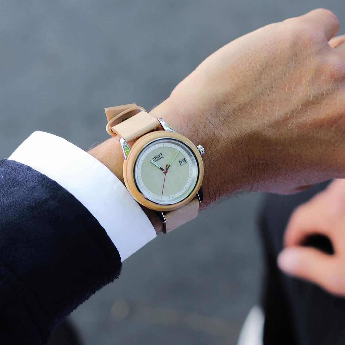 Montre automatique en bois Morning Mood avec bracelet en cuir beige