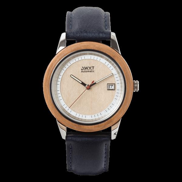 Montre automatique Morning Mood avec bracelet en cuir grainé bleu minuit