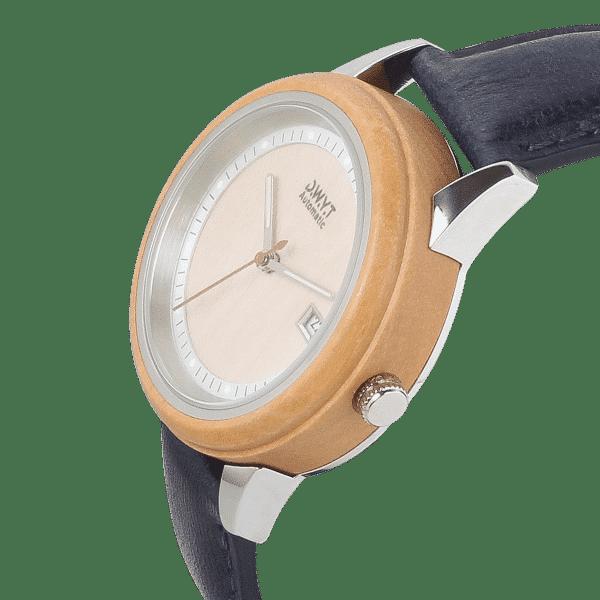 Montre en bois automatique Morning Mood sur bracelet cuir bleu de minuit