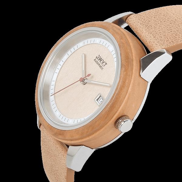 Montre automatique unisexe Morning Mood avec bracelet cuir véritable grainé noisette