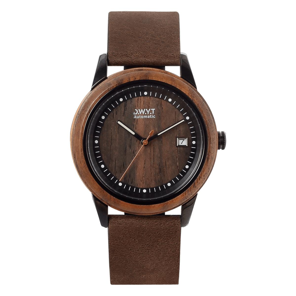 Montre automatique Night Mood avec bracelet en cuir grainé cacao
