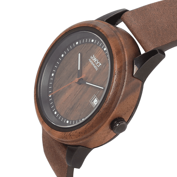 Montre automatique en bois Night Mood avec bracelet en cuir grainé marron cacao