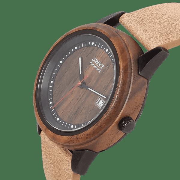 Montre automatique Night Mood avec bracelet en cuir grainé noisette