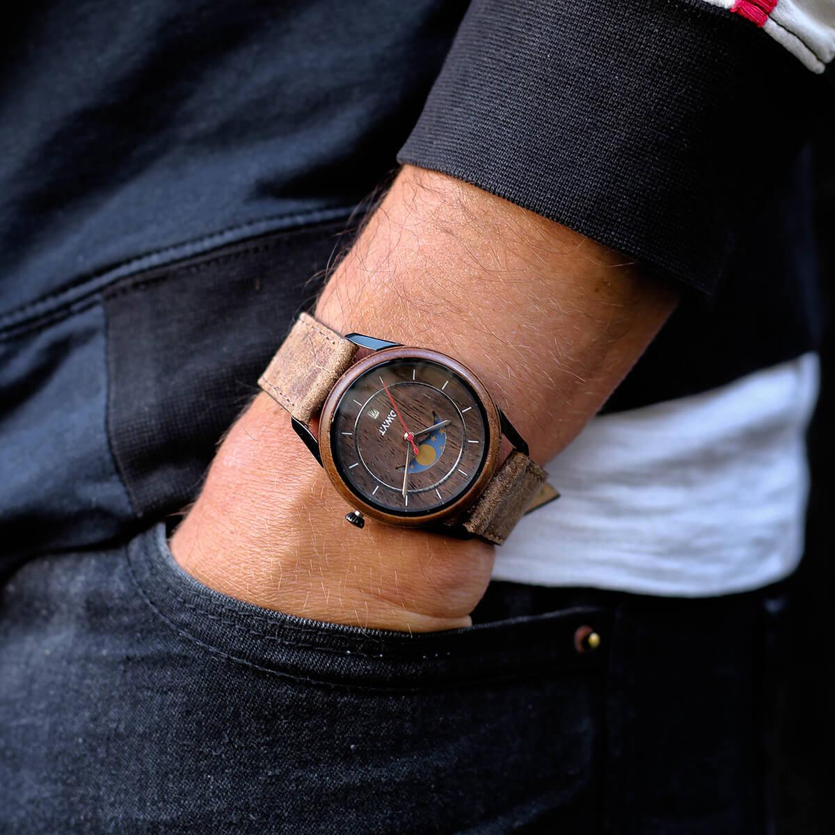 Montre phases de lune New Moon ave bracelet en cuir vintage marron sépia