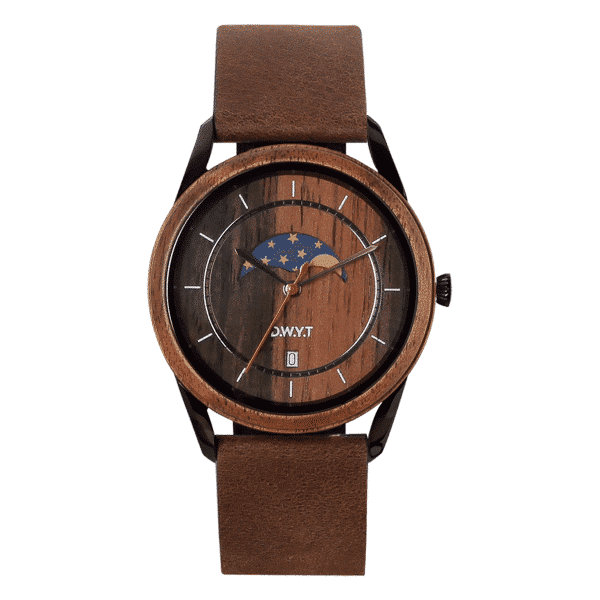 Montre phases de lune New Moon avec bracelet en cuir grainé marron cacao