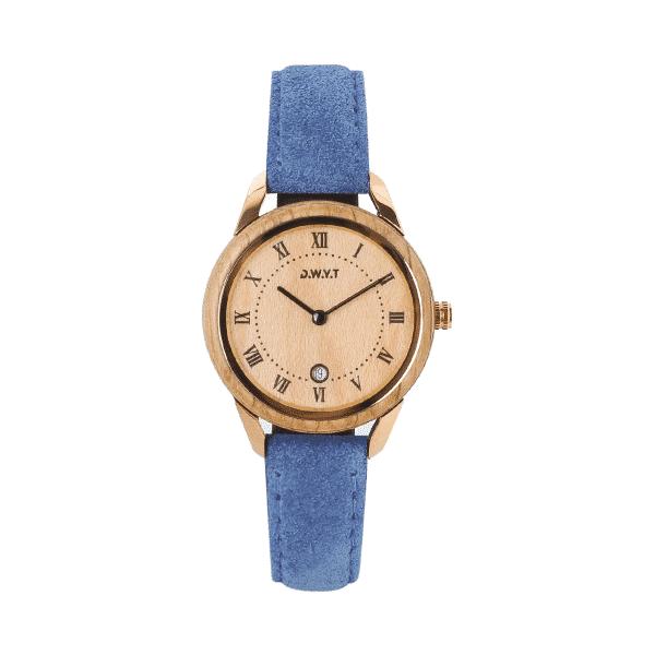 Montre bois femme Spirit Harmony avec bracelet cuir vintage bleu cobalt