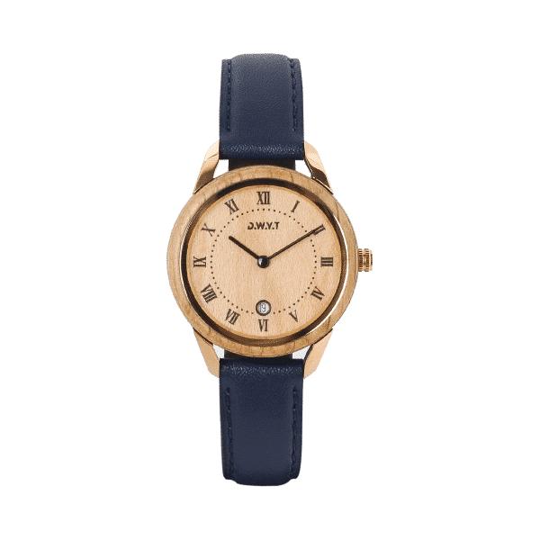 Montre Spirit Harmony avec bracelet en cuir classique lisse bleu marine