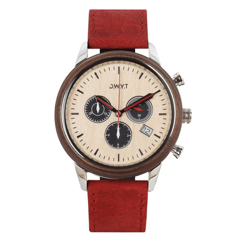 Montre chronographe Marco polo avec bracelet en cuir vintage rouge vermillon