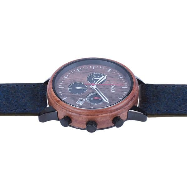 Wooden watch Vasco de Gama vintage leather bracelet