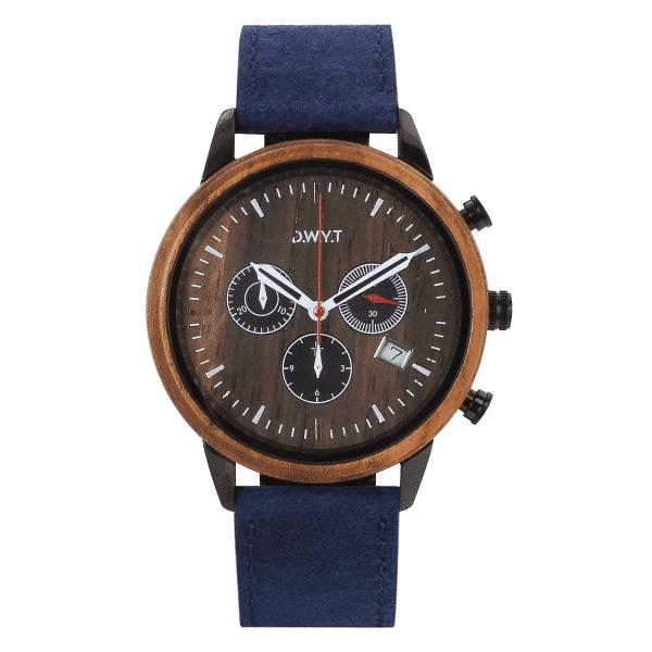 Montre chronographe homme Vasco de Gama avec bracelet en cuir vintage bleu saphir