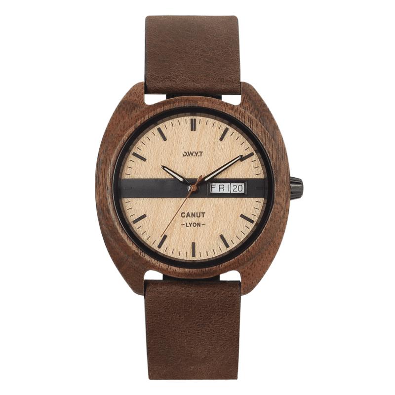 Montre vintage en bois Canut Bandit avec bracelet en cuir grainé cacao