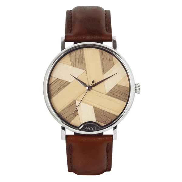 Montre en bois originale femme Symphony N41 avec bracelet en cuir lisse marron sénois