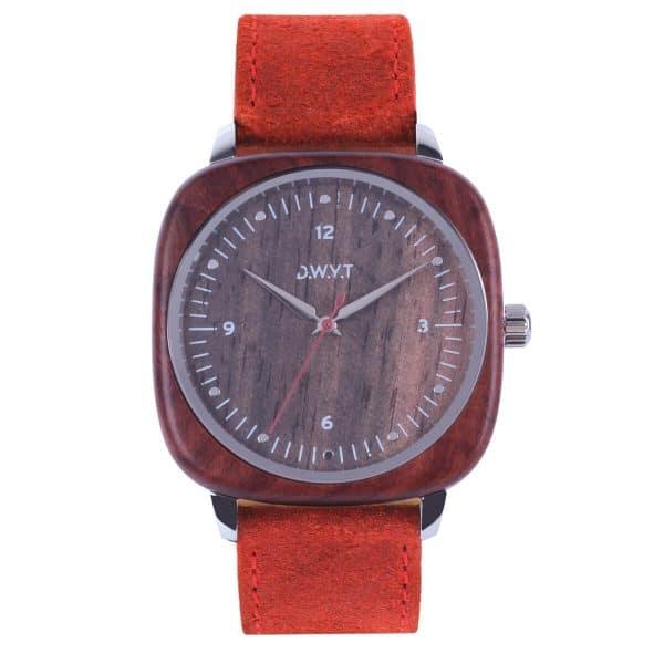 Montre en bois Square Red cuir vintage rouge vermillon