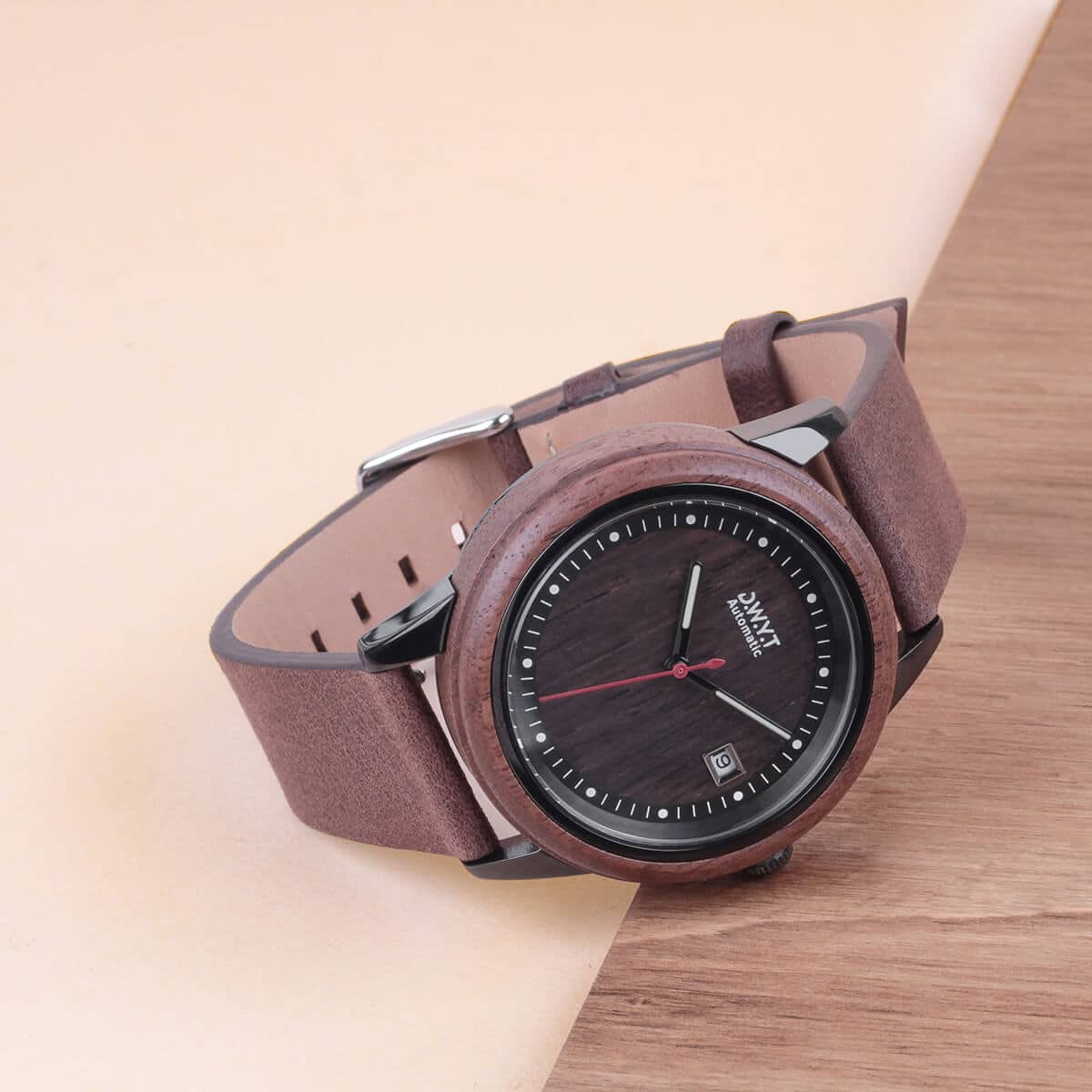 Montre en bois Mood bracelet cuir grainé