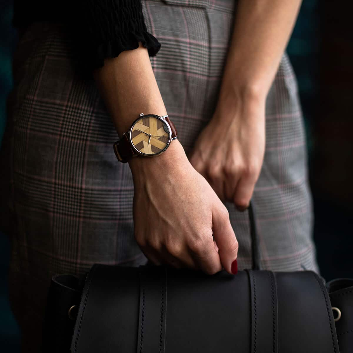 Symphony wooden watch N°9 smooth leather