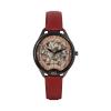 Montre squelette femme Black Odyssey avec bracelet en cuir lisse rouge rubis