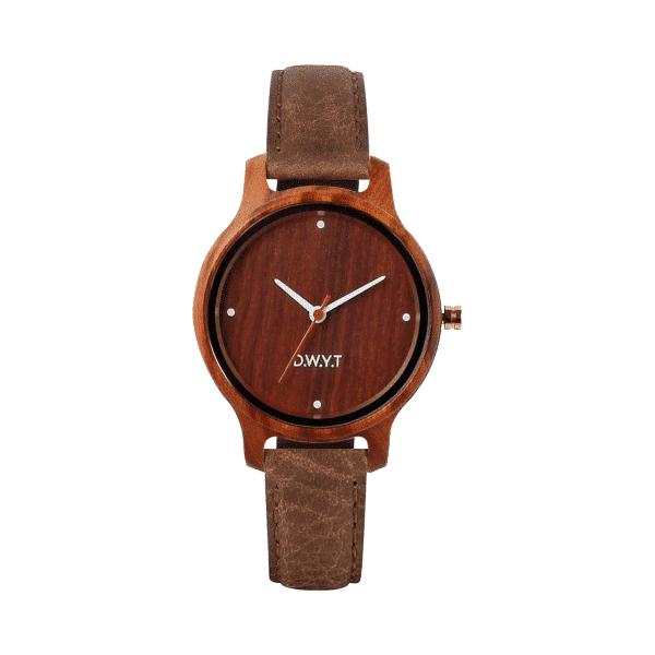 Montre en bois California avec bracelet en cuir grainé brun