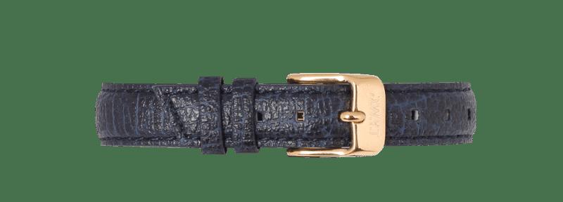 Bracelet vegan en cuir de pomme bleu avec boucle or
