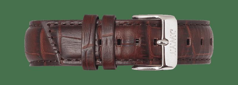 Bracelet en cuir imitation croco moka