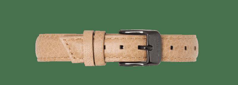 Bracelet grainé 14mm femme beige