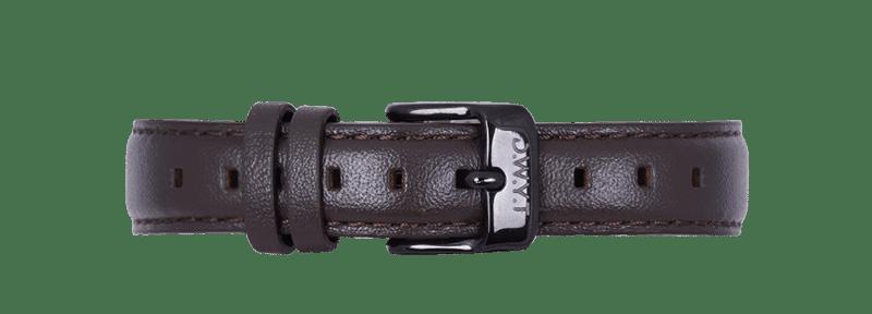 Bracelet en cuir lisse 14mm noir avec boucle noire