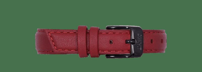 Bracelet en cuir lisse 14mm rouge rubis avec boucle black